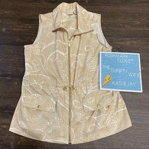 Zenergy by Chico's Floral Print Stylish Vest Med